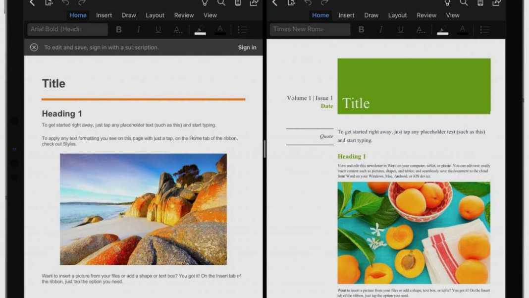 Microsoft Word and PowerPoint for iPad introduce the Split View function