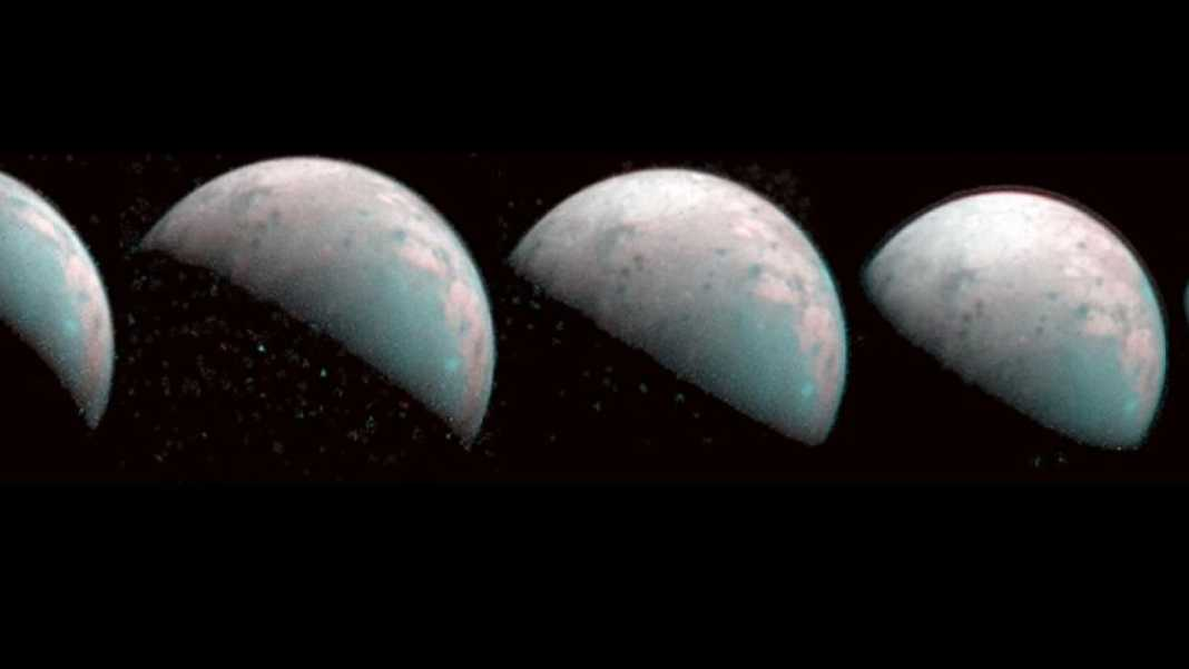 Here is an image of the north pole of Ganymede, the moon of Jupiter, in which it rains plasma
