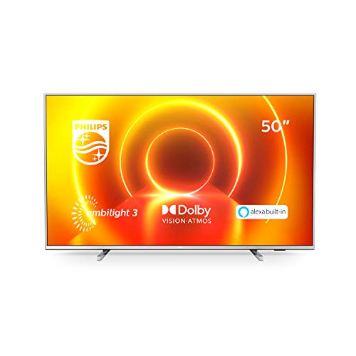 Ambilight Philips 50PUS7855 / 12 50-inch 4K UHD TV (P5 Perfect Picture Engine, Built-in Alexa Assistant, Smart TV, Voice Control Function), Light Silver (2020/2021 model)