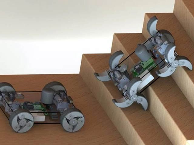 In collaboration with DARPA, scientists at the University of Texas A&M have created a robot whose wheels turn into feet.  Photo: University of Texas A&M