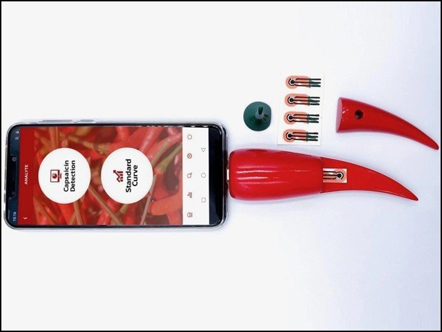 Called the Chilika Pod, the device can measure speed in six types of peppers.  (Photo: ACS Nano)