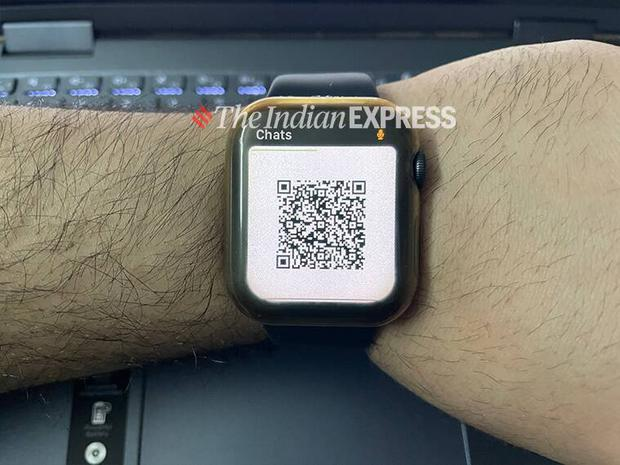 QR code on Apple Watch ready to scan