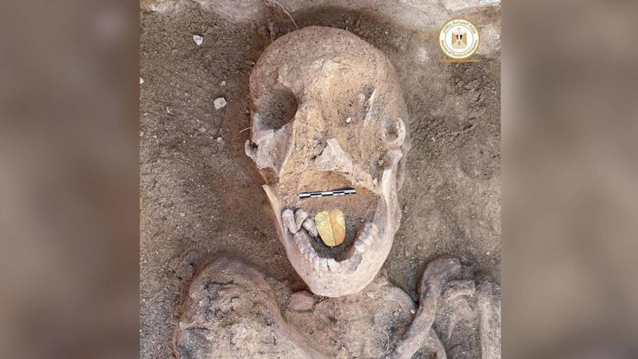 A very strange golden-tongued mummy was found in Egypt
