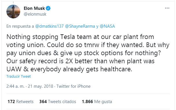 Tweet from Elon Musk who is accused of violating US labor laws.