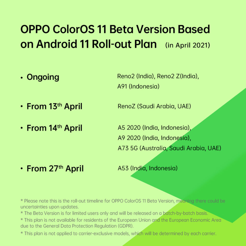 The Android 11 and ColorOS 11 beta calendar
