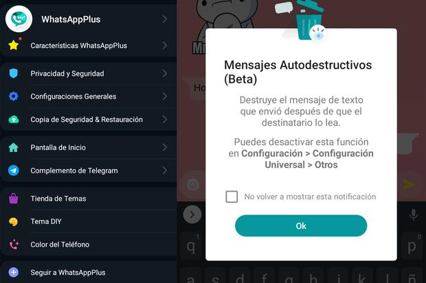 In this way you can have messages that self-destruct in WhatsApp Plus.  (Photo: MAG)