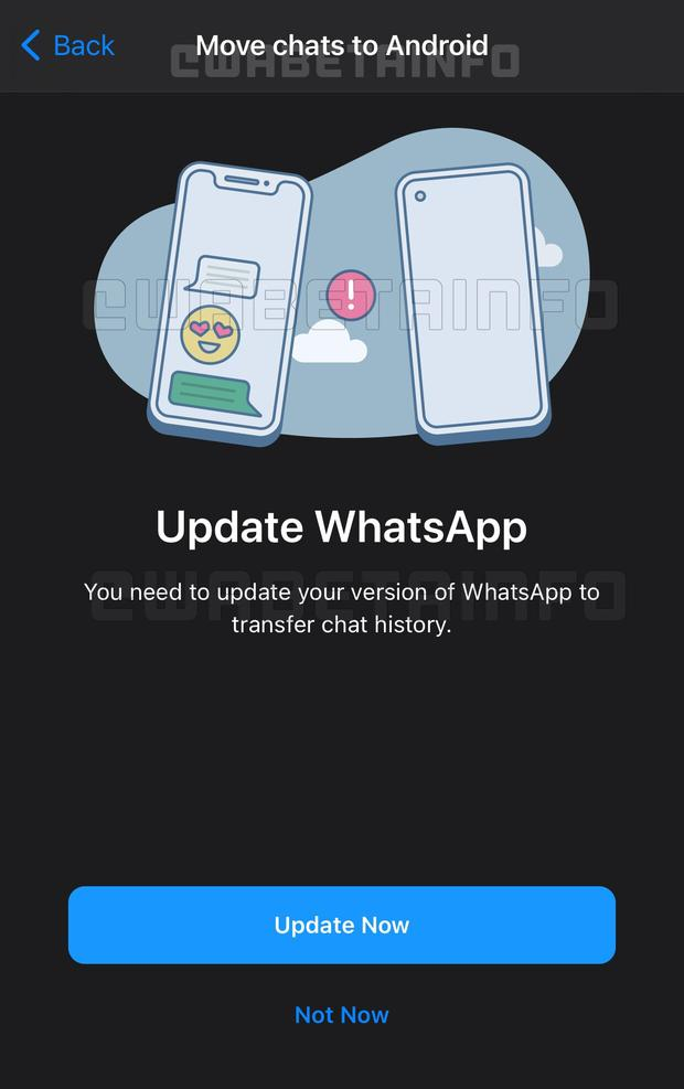 Capture the transfer of chats between devices