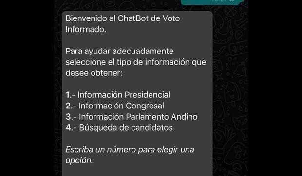 In this way you can chat with the chatbot of the National Elections Jury on WhatsApp.  (Photo: MAG)