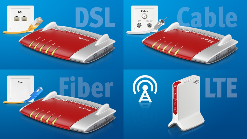 Internet via cable or Wi-Fi