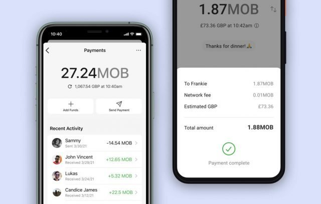 Interface of the new Signal payments feature