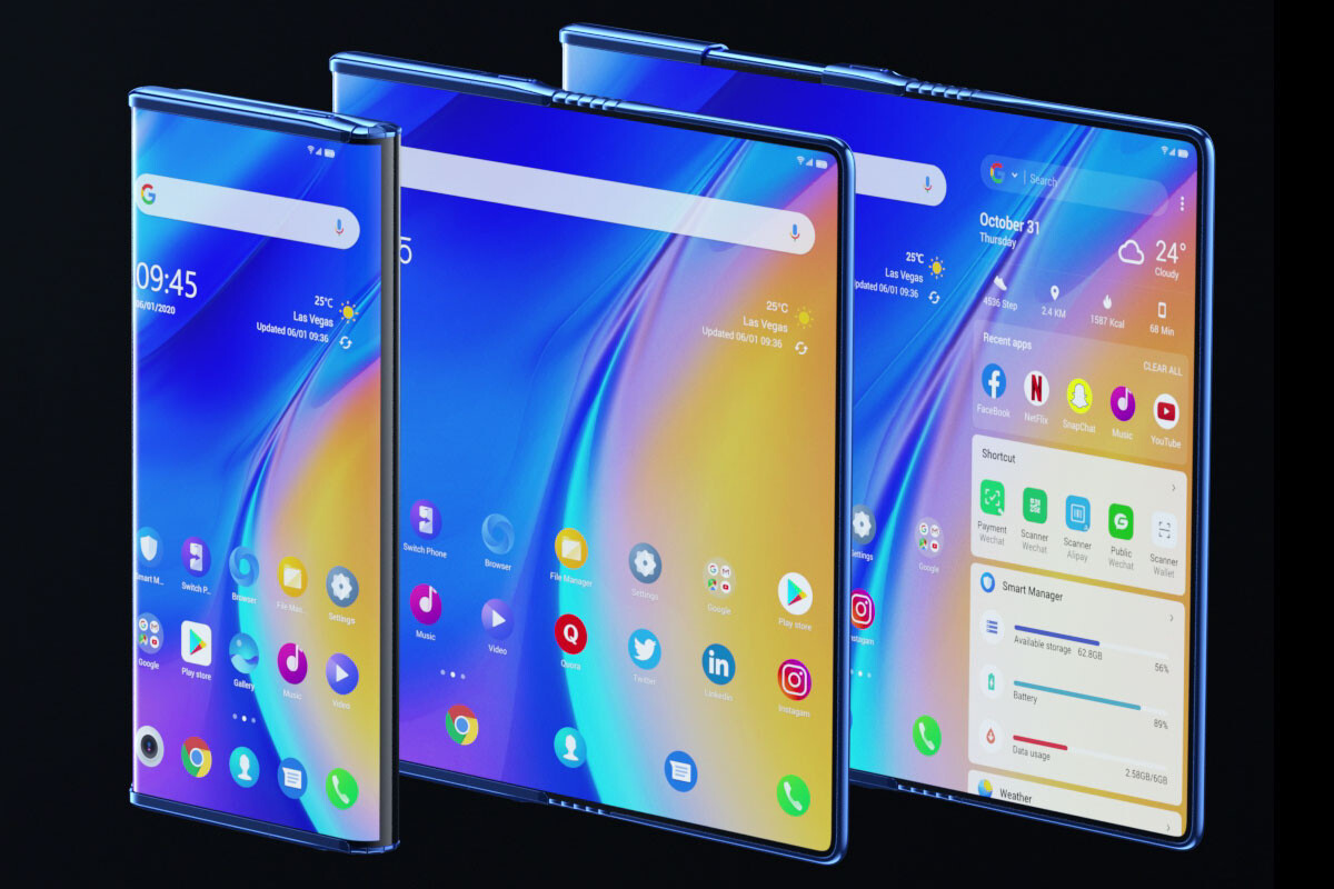 The TCL Fold 'n Roll with its foldable and roll-up screen is both mobile, phablet and tablet