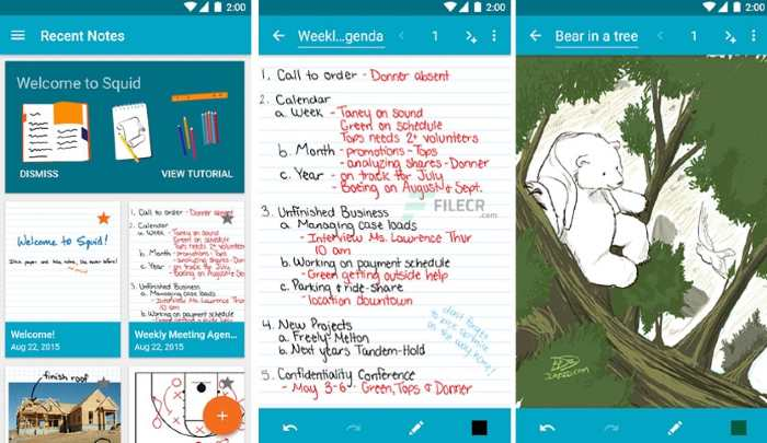 Squid, Android and iOS, app to take notes by hand