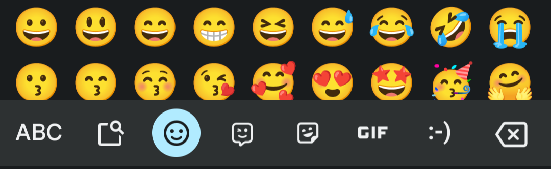 Press this icon to open the emoji section.