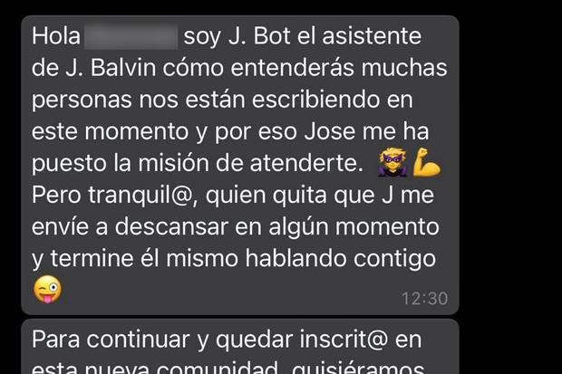 This is what they will reply to you if you write to singer JBalvin on WhatsApp.  (Photo: MAG)