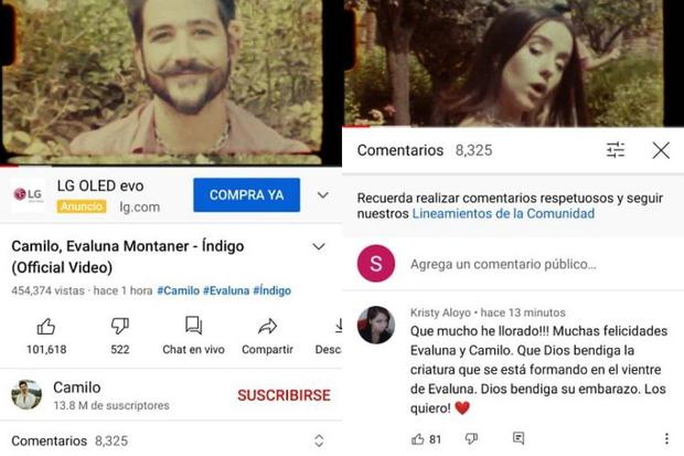 In this video clip of 'indigo' by Camilo and Evaluna Montaner the first thing is to open the comments vertically.  (Photo: Mag / Composition)